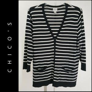 Chico's Woman Stripe Button Front Cardigan Size 3